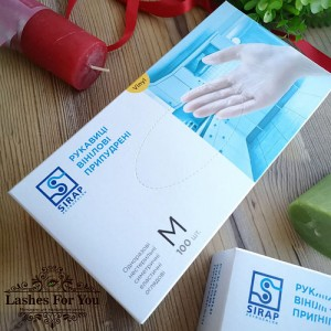 Перчатки виниловые SIRAP размер М (100шт-50пар)