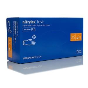 Перчатки нитриловые неопудренные Mercator Medical NITRYLEX BASIC BLUE XS 100пар/200шт